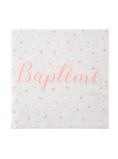 20 serviettes  BAPTÊME saumon