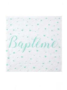 20 serviettes  BAPTÊME mint