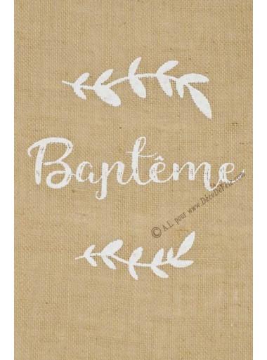 5M chemin de table jute BAPTEME blanc