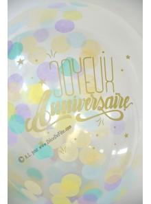 3 BALLONS confettis Joyeux anniversaire OR