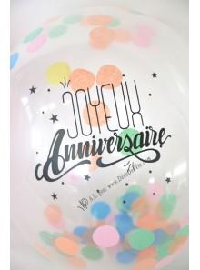 3 BALLONS confettis Joyeux anniversaire NOIR