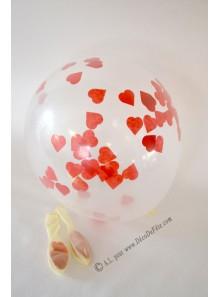 3 ballons confettis COEURS rouges