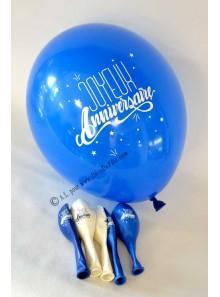 6 ballons Joyeux Anniversaire bleus