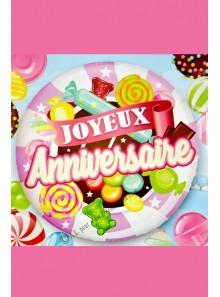 1 ballon joyeux anniversaire BONBONS rose
