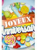 1 ballon joyeux anniversaire BONBONS bleu