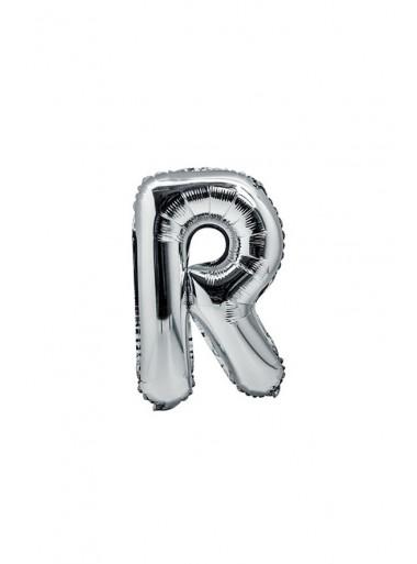 1 ballon fun LETTRE R ARGENT