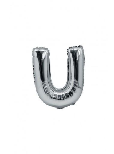 1 ballon fun LETTRE U ARGENT