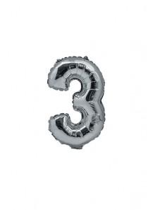 1 ballon funny CHIFFRE 3 ARGENT