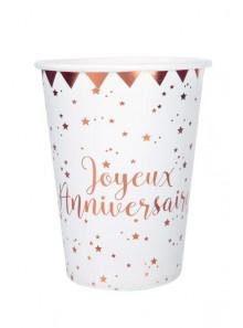 10 gobelets joyeux anniversaire ROSE GOLD