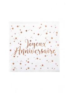 20 serviettes cocktail Joyeux anniversaire ROSE GOLD