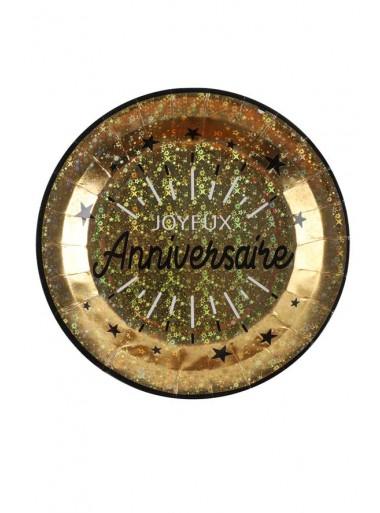 10 Assiettes joyeux anniversaire OR étincelles