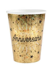 10 gobelets joyeux anniversaire OR étincelles