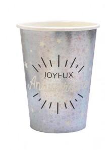 10 gobelets joyeux anniversaire ARGENT étincelles