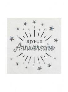 10 serviettes  Joyeux anniversaire ARGENT étincelles