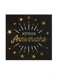 10 serviettes  Joyeux anniversaire OR étincelles