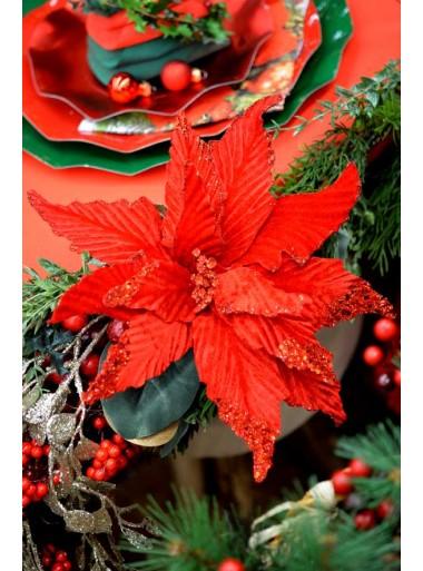 1 Poinsettia paillettes et velours rouge