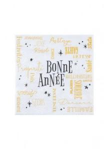 20 serviettes cocktail BONNE ANNEE blanches