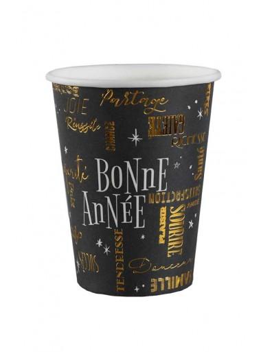 10 gobelets BONNE ANNEE noir et or