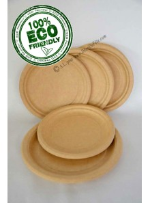 50 assiettes à dessert KRAFT BIODEGRADABLE