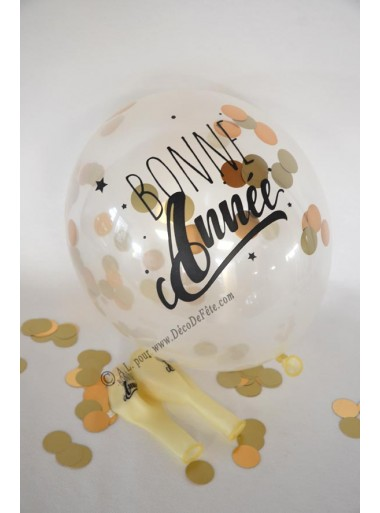 3 ballons confetti BONNE ANNEE