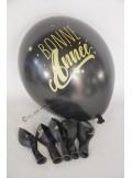 6 ballons noir BONNE ANNEE