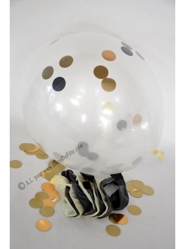 12 ballons OR confetti et NOIR