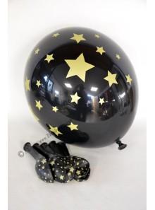 6 ballons noir ETOILES or