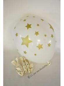 6 ballons blanc ETOILES or