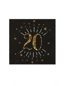 10 serviettes OR étincelles 20 ans