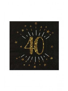 10 serviettes OR étincelles 40 ans