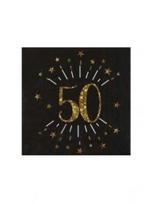 10 serviettes OR étincelles 50 ans