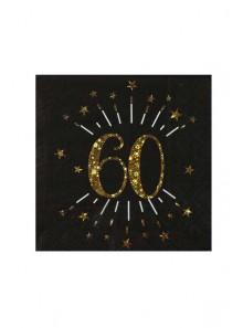 10 serviettes OR étincelles 60 ans