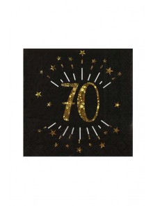10 serviettes OR étincelles 70 ans