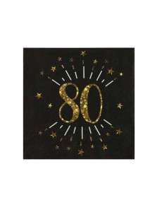 10 serviettes OR étincelles 80 ans