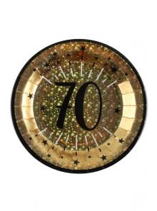 10 assiettes OR étincelles 70 ans