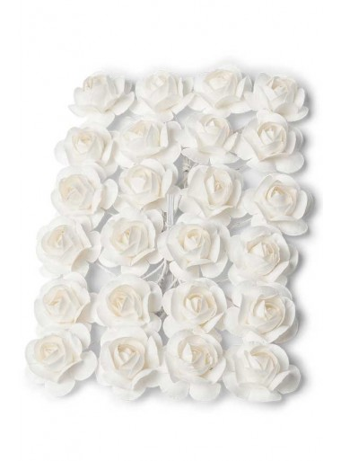 24 mini Roses papier blanches