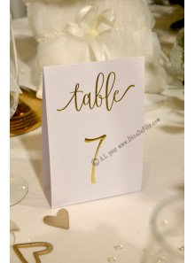 10 marque-table BLANC et or