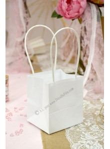 6 mini sac BLANC à anse 10cm