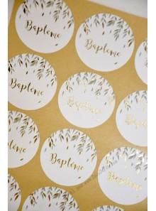 24 stickers baptême végétal et OR