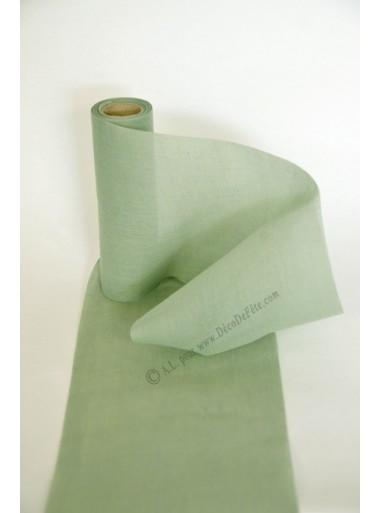 5M Ruban de table mousseline VERT de gris