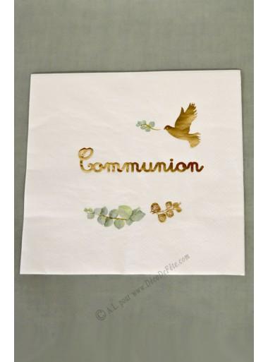 16 serviettes COMMUNION OR