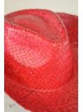 1 chapeau cow-boy paille rouge