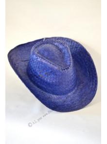1 chapeau cow-boy paille bleu roy