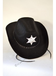 1 chapeau cow-boy shérif feutre noir