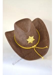 1 chapeau shérif feutre marron