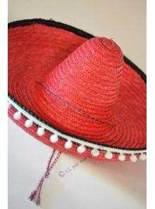 1 chapeau sombrero adulte rouge