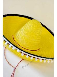 1 chapeau sombrero adulte jaune
