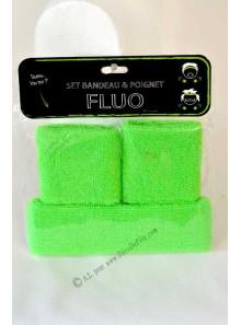 1 set bandeau et poignets vert fluo