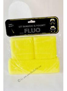 1 set bandeau et poignets jaune fluo