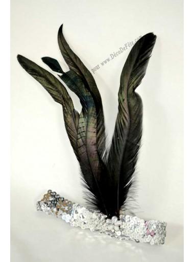 1 Bandeau argent Plume noire